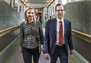 KD:s partiledarkandidater Ebba Busch Thor och Jakob Forssmed.