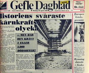 Riv från Gefle Dagblad vid Tjernobylolyckan 1986
