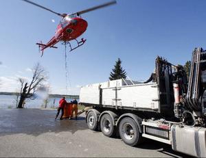 3000 öringar per dag under tre dagar ska sättas ut i Storsjön. I tisdags användes en helikopter för att komma långt ut på öppet vatten.