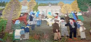 Auktion där en av de två gårdarna i Slåtte såldes. Kvinnan längst till vänster på bilden med två barn blev tvungen att sälja sedan maken dött 36 år gammal.
