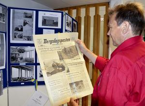 Utställning. Bo Eriksson hade gjort en utställning över lasarettets utveckling från nybygge till i dag. Där ingick en Bergslagsposten från dagen efter invigningen.