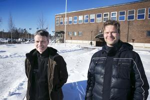 Tony Cederberg och Torkel Holst ser fram emot en ny sporthall i Leksand.