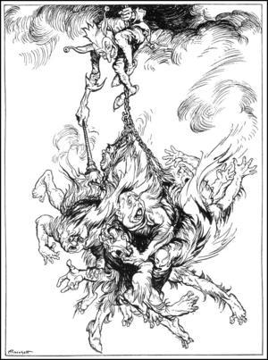 Narren Hoppgroda hämnas på sina plågoandar. Illustration av Arthur Rackham från 1935.