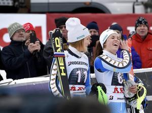 Anna Swenn-Larsson och Maria Pietilä-Holmner under världscuptävlingarna i Åre 2014.
