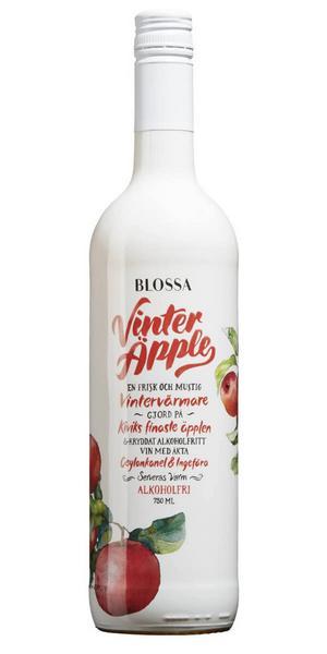 11978 Blossa Vinteräpple för 39 kronor (75 cl), med en bas utav både avalkoholiserat vitt vin och äppelmust från Kivik kryddat med klassiska glöggkryddorna kanel, kardemumma, kryddnejlika samt ingefära. Frisk, fruktig smak av äpple med fin sötma och harmonisk kryddighet.