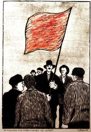 Från Bo Jonzons träsnitt med motiv från Sundsvallsstrejken.