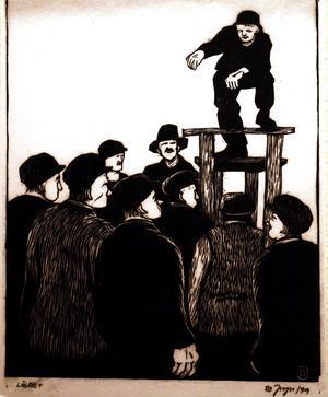 Bo Jonzons träsnitt med motiv från strejkdagarna finns med i utställningen.