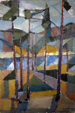 Traditionens svenska tallbacke i Tryggve Örns milt kubistiska tolkning, oljemålning från 1956.
