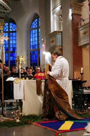 Domkyrkan i Härnösand fylldes när biskop Tony Guldbranzén höll sin avskedspredikan.Foto: Maria Eddebo
