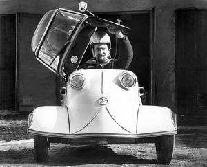 Messerschmitt ägd av Anders Johnsson. Veteranbilsrally i Sundbyholm 1981.