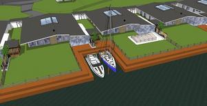 Den som vill och har råd, kan köpa boende med egen båtplats. Skiss: Byggsigurd