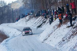 Bilder från rallyt i Monte Carlo (WCR2). I bilen kartläsaren Joakim Sjöberg och föraren Emil Bergkvist.