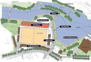 Planförslaget på första etappen av utbyggnaden av Strömvallen innehåller en ny läktare, ny belysning, en strandpromenad och en bro. Översiktsbild av Thobias Nilsson, Bygg och miljö Gävle