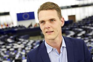 Christofer Fjellner (M) i Europaparlamentet i Strasbourg.