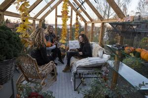 En plats för återhämtning, samtal och kortspel. Karin och döttrarna Linn och Saga myser i växthuset.