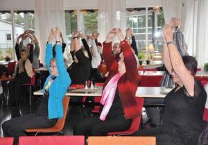 Sittgympa är ett exempel på att kunna röra sig regelbundet och gärna i trivsamma former. Det tillämpades på PRO Leva livets senaste möte.Foto: Arne Lindström