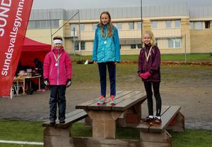Pallen i flickor 4-6. Vinnare blev Lovisa Dufva , Skönsmons skola, med tiden 13.37. Hon blev skuggade av tvåan Signe Feil, Skönsmons skola, och trean Alva Eliasson, Engelska skolan.
