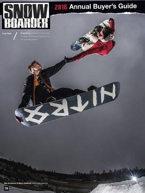 Framsidan på snowboardmagasinet Snowboarder är taget i Bollebacken i Bollnäs. Hoppet står Måns Hedberg och Nils Arvidsson för.