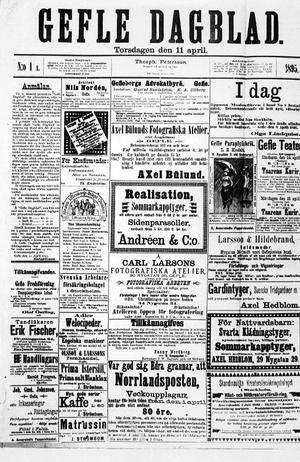 Det allra första numret av Gefle Dagblad från 1895. Tidningens kamp för rösträtt möjliggjordes av tryckfrihetsförordningen som antogs ett drygt sekel tidigare.