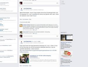 Så såg inlägget ut på Lars Beckmans Facebook-sida.