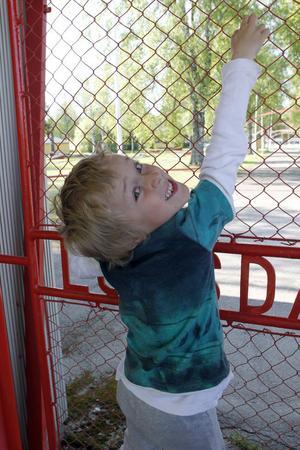 Att det var stängt in till parken tyckte inte Sigge Persson, sex år, var roligt.