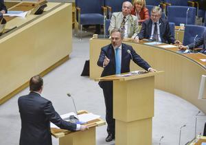 Stefan Löfven (FP) och Jan Björklund (FP) i riksdagens partiledardebatt.