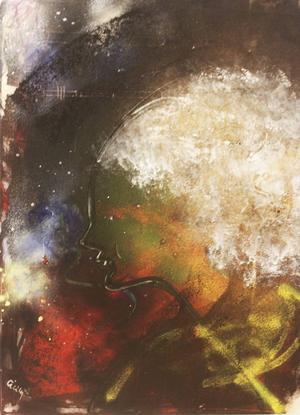 Blondie, målning av Cicily E Bäckström.