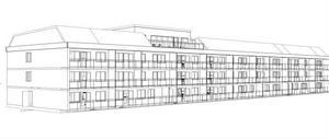 Så här kommer det återuppbyggda hyreshuset på Öjollas att se ut, enligt en ny skiss.