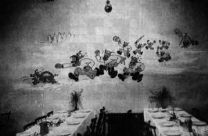 Harald Wedérus dekorerade väggarna när Hjulmakargillet hade fest. Under 40-talet hade Frans G Bengtsson inspirerat med böckerna om Röde Orm.