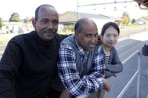 Tre av de nyanlända som söker en yrkesidentitet via plattformen i Järvsö, från vänster Salih Soliman Ahmed, Abdallah Hamed Ibrahim och Jing Yi Huang.
