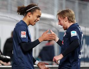 Yussuf Poulsen och Emil Forsberg i RB Leipzig. På lördag möts de när Sverige och Danmark drabbar samman.