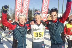 Sven Leander, Jesper Persson och Viktor Jonsson tog guldet i USM-stafetten i Filipstad.
