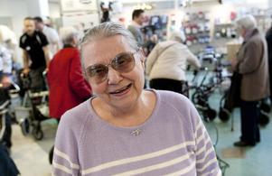 Gun Skog har haft sin blå Samhall Rehab i ungefär femton år. Hon fick hjälp med vänsterbromsen som var lös.