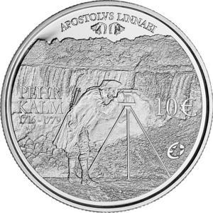 Håret av den som tittar på Niagarafallen kan sticka upp, skrev Pehr Kalm i sin resejournal år 1750. Kalm var först i världen att skriva en vetenskaplig skildring därifrån. På bilden synd det jubileumsmynt från 2011 som avbildar trädgårdsskötselns fader Pehr Kalm.