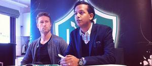 Redan under förra säsongen var Brage intresserad av Ljungskilespelaren Andreas Ljunggren-Eriksson. Här presenteras han av Brages sportchef Michael Kallbäck.