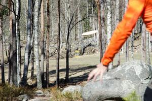Många kast handlar mer om precision än rå styrka. Här ska discen ta sig igenom en trång passage av träd ner till korgen.