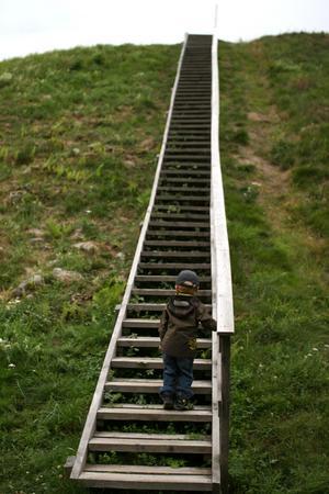 Trappan kan se oändligt lång ut, särskilt om man bara är 3 år gammal. Bilden togs vid Anundshög när vi var där på en utflykt nu i somras...