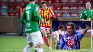 """Louay """"Lolo"""" Chanko tillbaka på planen mot Jönköping i oktober 2015 efter att ha varit skadad sedan omgång 3. Lilla bilden: Lolo i Djurgårdens tröja 2001 då han avgjorde derbyt mot Hammarby."""