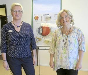 Optikerna Lotta Skoglund och Anki Fredriksson gästade SPF Skinnarbygds senaste möte om berättade bl a om gråstarr.