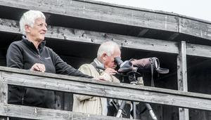 Malin Rådström och Dag Rådström från Hässelby åkte tre timmar med bilen för att skåda vitgumpsnäppan.