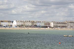 Weymouths strand en mulen dag.