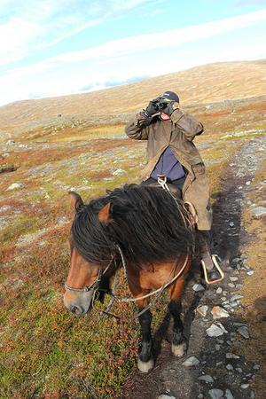 En kikare är bra att ha för att kunna leta rätt på jägare eller identifiera djur på fjället.