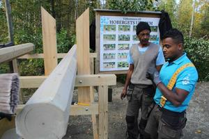 Värdefullt att få jobba och lära sig svenska bättre, tycker Aschalew Mekuria och Abdi Ahmed, som deltar i projektet.