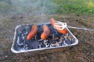 För att mäta grilltiden placerades två korvar, utrustade med värmemätare, på grillgallret. När temperaturen i korven uppgick till cirka 60 grader togs de av grillen.Foto: Martin Hansson