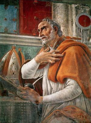 Kyrkofadern Augustinus, freskmålning av Sandro Botticelli från 1480.
