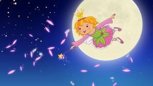 """Vidrigt rosa. """"Det är alltid en vacker morgon i Rosarike"""", jollrar prinsessan Lillifee och flyger iväg för att färga hela världen, inklusive sin frukostmjölk, rosa."""