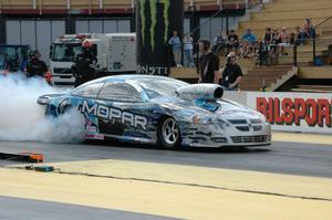 Thomas Lindström har köpt Alan Johnsons bil, och var kvalsnabbast i Pro stock, 6,73.