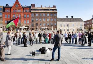 Ett 60-tal hade letat sig till Stortorget under måndagskvällen för att delta i en manifestation mot Israels attack på hjälpkonvojen i Gaza.