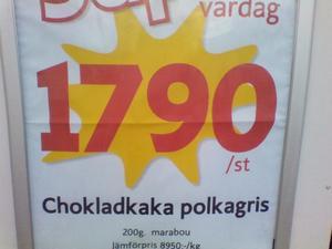 Hej min son och jag skulle handla på ICA Gryta och fick syn på denna annons som satt utanför butiken. Priset för chokladen är enligt annonsen 1790 kr/st och kilopriset 8950kr/ så ni som köper NJUT av denna dyra choklad .