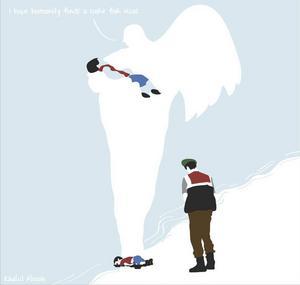 Khalil Albaihs teckning om pojken Alan Kurdis öde.